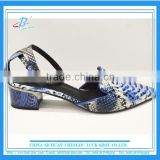 Fashion pointed toe strip low heel lady dress shoes classic design snakeskin soft casual shoes