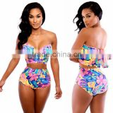 Hot New Print Sexy Summer Tankinis Set Bow Elastic Bathing Set Women Tankinis Set Push Up Swimwear