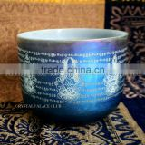 frosted quartz crystal singing bowls with design and colorful and musical note