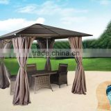 10'x12' With Sun Shade Durable Sturdy Permanent Outdoor Aluminium Gazebo Garden Patio Pergola