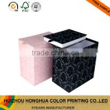 Decorative folding cardboard cuff link box packaging fabric storage boxes