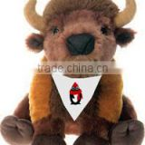 t-shirt imprinted Bison mascot beanbag personalized custom logo bandana bib tie ribbon animal toys