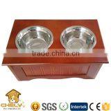 Wooden pet dog Feeder With Two Bowl & Storage Box for wholesale