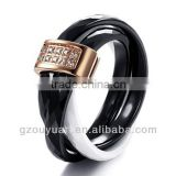 Women's Black and White Ceramic Ring Set with Diamonds