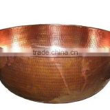 Spa Foot Soak Copper Hammered Bowl, Pedicure Bowl, Massage Bowl With Pitcher Round hammered Bowl Copper multipurpose bowl