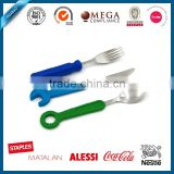 Safe colorful design silicone handle food grade stainless steel cutlery set for kids with PVC box packing
