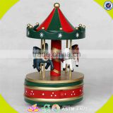 wholesale baby wooden carousel music box christmas gift kids wooden carousel music box wood carousel music box W07B009A