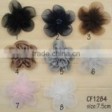 Colorful lady dress decoraton beaded fabric tulle flower