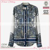 OEM service China factory custom shirt elegant women loose white and blue print blouse long sleeve cotton top