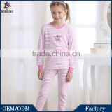 Hot Selling Pink Stripe of Children's Long Sleeve Sleepwear Kids Girls Breathable Pajamas