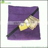 Microfiber gym towel with zip pocket polyester microfiber towels wholesale