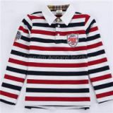 New 100% Cotton Kids Long Sleeve Stripe Embroidery Polo-shirt