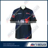 black racing team polo shirts/work wear/active wear 100% polyester number changing polo shirt for team,club