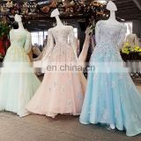 LS00343 O-neck long sleeve real blue lace up appliques long sexy japanese long train prom dresses
