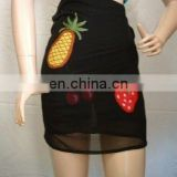 black wrap skirt fruit design beach wear