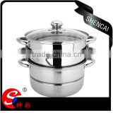stainless steel capsule bottom 3layers high steamer pot with glass lid/ kitchen cookware