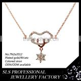 "S925 silver women necklace light weight necklace big ""lip"" shape pendant necklace"