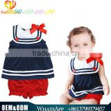 2016 Summer New Style Cute Baby Girl Nevy Modeling Baby Rompers Doll Bow Jumpsuit