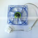 Computer case 8cm cooling fan, transparent blue color with 4 LED lights