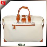 Cream canvas samll travel bag for men waxed canvas duffle bag with leather trim lightest carry on luggage
