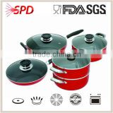 2014 high quality SGS FDA 10 pcs Non-stick cookware induction set with Stainless Steel Handle