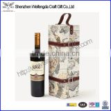 Multifunction High Quality Map pattern portable leather wine carrier