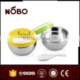apple shape plastic lid double layer Stainless steel food container