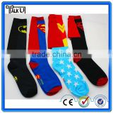 Fashion custom men jacquard superman boot socks/knee high crew socks with cape