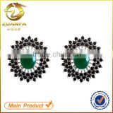 women black rhodium plated black zirconia flower ear stud earrings                                                                                                         Supplier's Choice