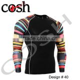 2016 New Design Long Sleeves Digital Printed Sublimation Rash Guard Compression Wear Shirt