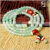 Amulets Tibetan Buddhist Vintage Style Mala Prayer Beads Natural Prehnite Color and Red Agate Wrist Meditation Bracelet