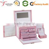 Lady pink lovely leather make up case multi-drawer cosmetic box with mirror                                                                         Quality Choice