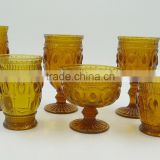 press glass drinkingware/goblet, Hiball, DOF, dessert bowl,Champagne flute in amber color with Jewery patern