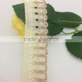 polyester drawn textured yarn flat ivory natural scalloped edging braid lace trimming