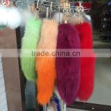 Wholesale custom dyed real fox fur tail with metal keyring for bag keychain                                                                         Quality Choice