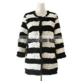 Mink Fur Coat black and white striped round collar mink fur coat KZ14079