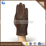 New fashion mens winter wool lined brown deerskin leather gloves