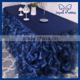 CL010N elegant polyester fancy wedding frilly navy blue curly willow table cloth