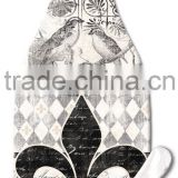 Cherish Fleur de Lis Wine Bottle Shaped Glass Cheese Cutting Board