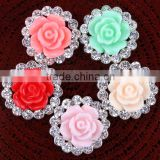 Floral Patterned diamond Rhinestones with chiffon flower DIY hair accessories