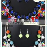 No.1 yiwu & ningbo commission agent wanted fashion colorful necklace set with bright earrings jewelry sets for holidays