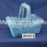 Blue paper rope and wool woven by hand boat shaped Earth Day gift basket