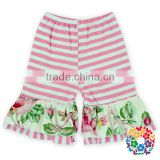 wholesale baby ruffle shorts 100 % cotton stripe flower designs ruffled shorties for toddler girl