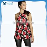 Custom open slit back design 100% cotton all over fancy floral printing blouse tank tops for women