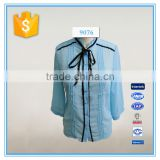 New Model Dri Fit Chiffon Blouse Sky Blue Color Long Sleeve Shirts Wholesale