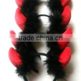 Red antler deer horn feather hairbands handmade soft plush antlers hair accessories for 2016 Christmas party