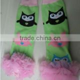 Fashion wholesale Owl printed cotton leg warmer with ruffles for kids