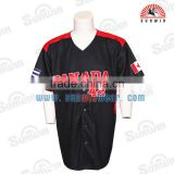100% polyester Black Short Sleeve Full Button UP Mens Baseball Jersey/custom baseball jersey