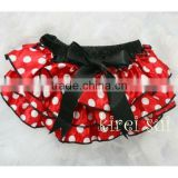 Newborn Baby Girls Red Polka dots Satin Ruffles Panties BSM2 0-24M