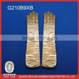 Golden satin full length wrinkled bridal glove
